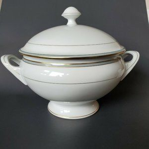 Limoges Lafarge Footed Large Soup Tureen Gray trim